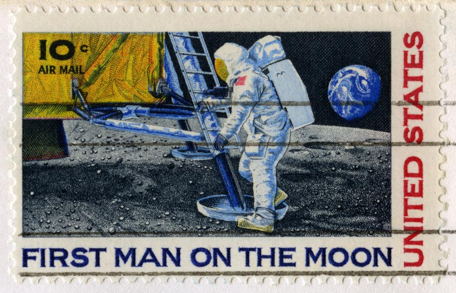 Us Stamp Celebrating The First Man On The Moon