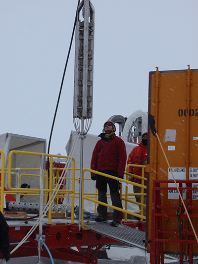 UCSC researchers lowered a geothermal probe through a borehole in the West Antarctic ice sheet to measure temperatures in the sediments beneath half a mile of ice. (Photo courtesy of WISSARD/UCSC)