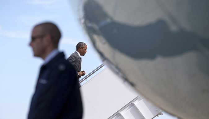 President Obama boarded Air Force One on Thursday at Andrews Air Force Base, Md. Credit: Doug Mills/The New York Times