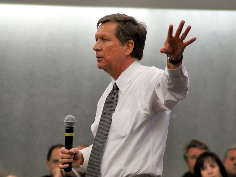 Ohio Governor John Kasich speaks to the Dayton Chamber of Commerce Board and 250 guests at the Dayton Convention Center February 16 2011. Kasich outlined his Jobs Ohio plan and took questions from the crowd.