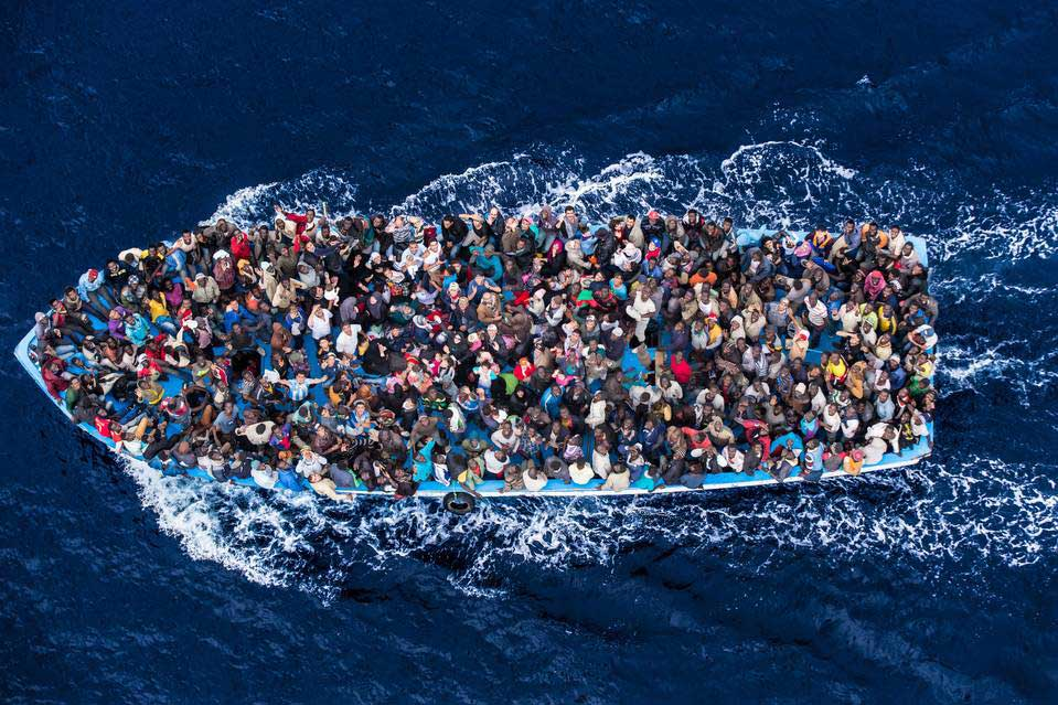 The Italian navy rescued shipwrecked immigrants off the coast of Africa in June. PHOTO: MASSIMO SESTINI/POLARIS