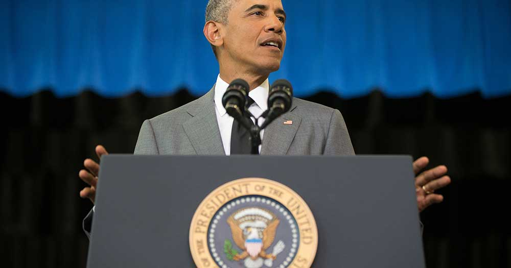 President Obama delivers remarks at the Andrew P. Sanchez Community Center in New Orleans, on Aug. 27, 2015, for the 10th anniversary since the devastation of Hurricane Katrina. (Photo: Andrew Harnik, AP)