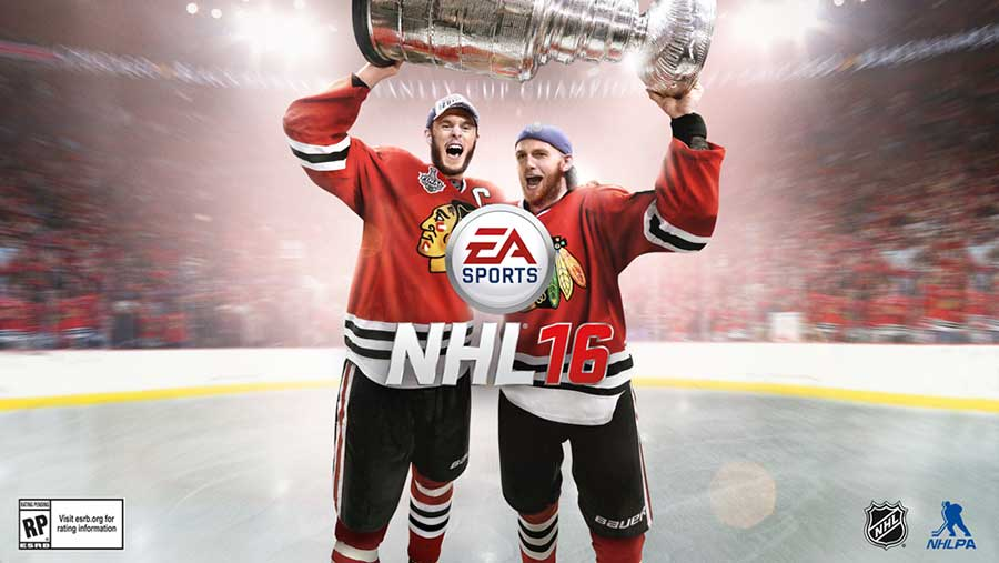 The cover of NHL 16 featuring Jonathan Toews and Patrick Kane (EA Sports)