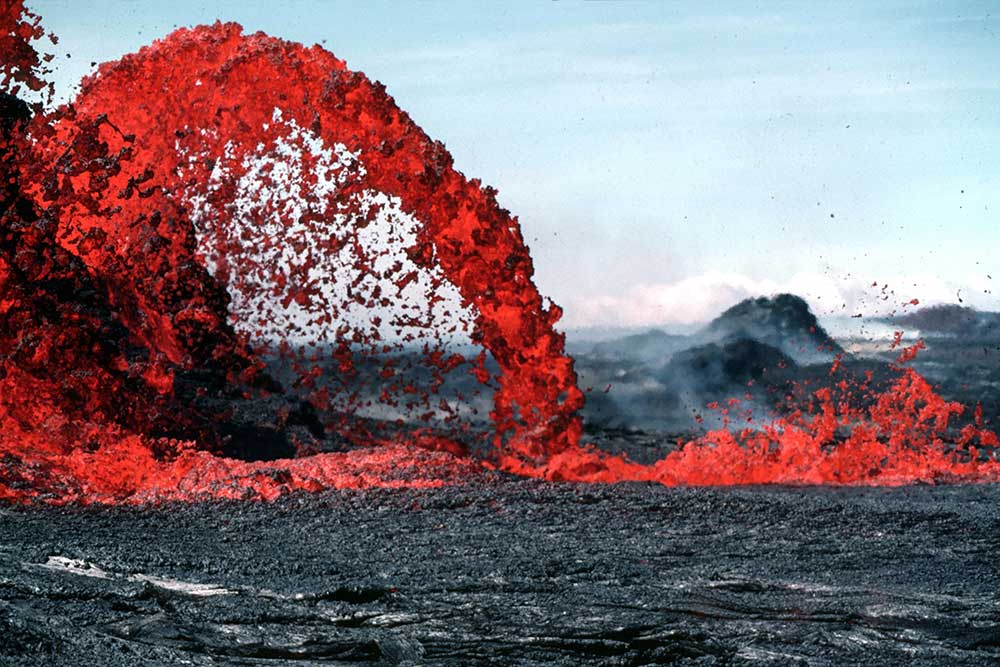 A lava fountain is a volcanic phenomenon in which lava is forcefully but non-explosively ejected from a crater, vent, or fissure. The highest lava fountains recorded were during the 1999 eruption of Mount Etna in Italy, which reached heights of 2,000 m (6,562 ft)