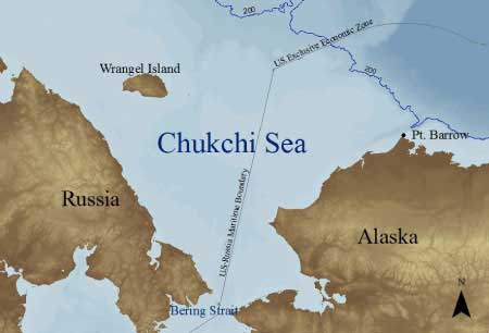 The Chukchi Sea is a rather small southern extension of the Arctic Ocean. The sea is bordered in the west by Russia's Wrangel Island and the East Siberian Sea; in the east by Alaska and the Beaufort Sea, and in the south it ends on the edge of the Bering Strait.