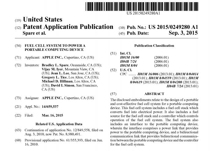 Apple US Patent Application, Abstract, and details. Image: Free Patents Online.