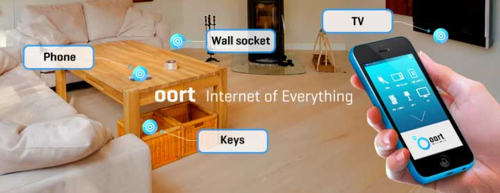 Oort envisions a home that can be seamlessly controlled by its app. Oort is the world's first home automation system. It uses of low-energy Bluetooth beacon technology, which sends signals wirelessly from your app or wristband. Credit: International Business Times