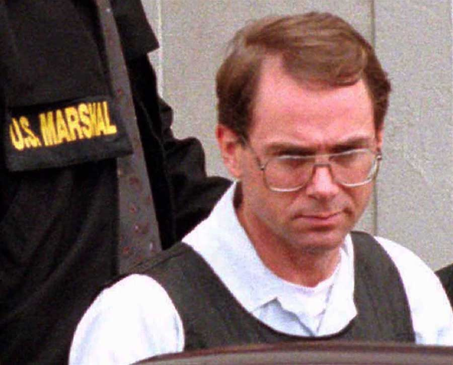 Terry Nichols is pictured leaving the Federal Court Building in Wichita, in this file photo taken May 10, 1995, after being charged in the April 19 Oklahoma City bombing. STAFF / Reuters