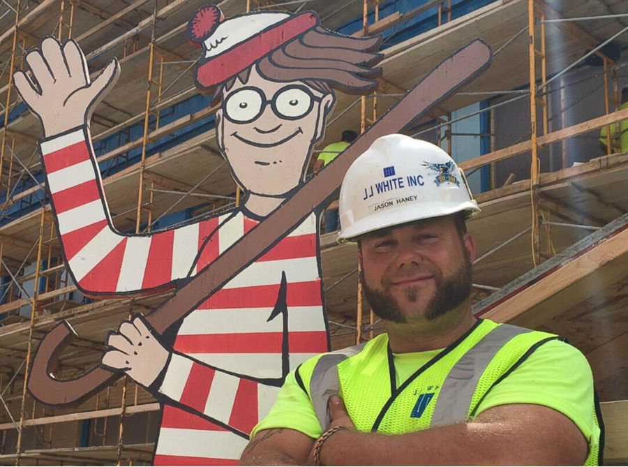 Haney got inspired and decided to make a life-size cutout Waldo (Wally outside the US), with a 4-by-8 sheet of plywood. Image Credit: ABC News
