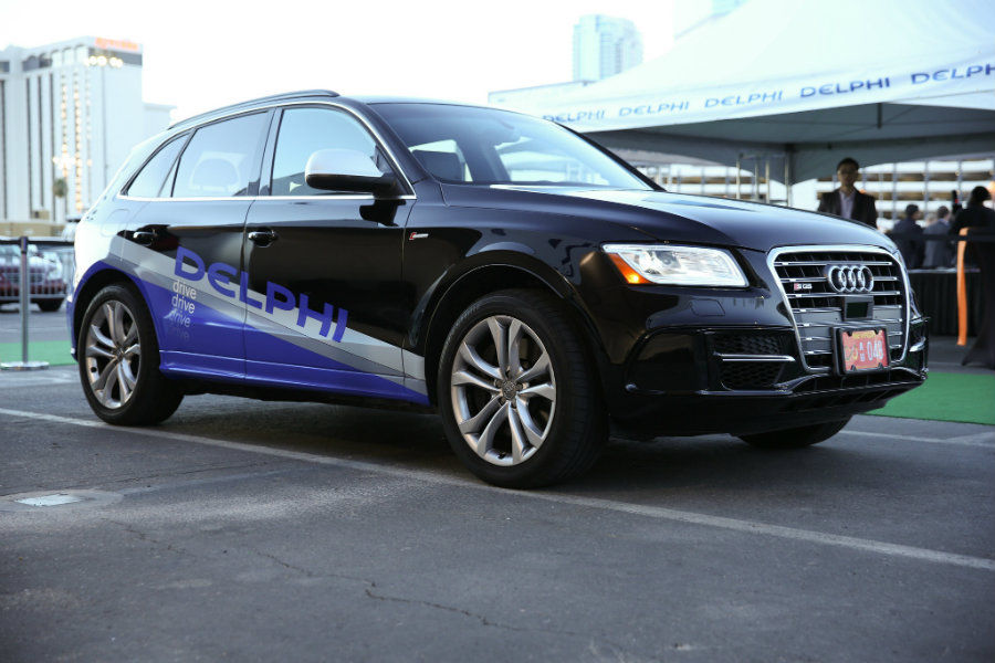 The Delphi driverless car began its long journey from San Francisco to New York on Sunday. Image Credit: Chicago Tribune