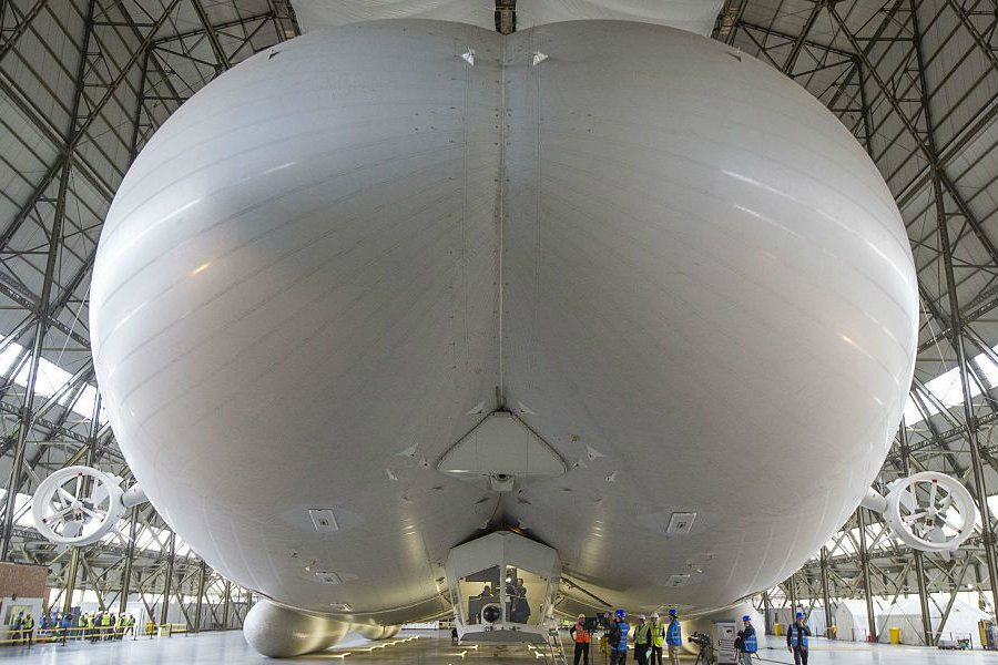 A shot from inside Airlander 10's hangar in England. Image Credit: Fortune