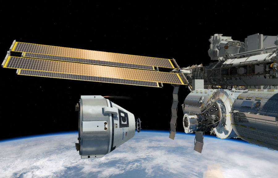 Artist's concept of Boeing's CST-100 Starliner capsule approaching the International Space Station. Image Credit: Space