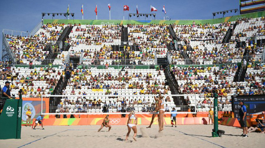 Beach Volleyball is one of the most viewed events at previous Olympic games, however, plenty of seats remained empty on this week's main volley events. Image Credit: Daily Mail