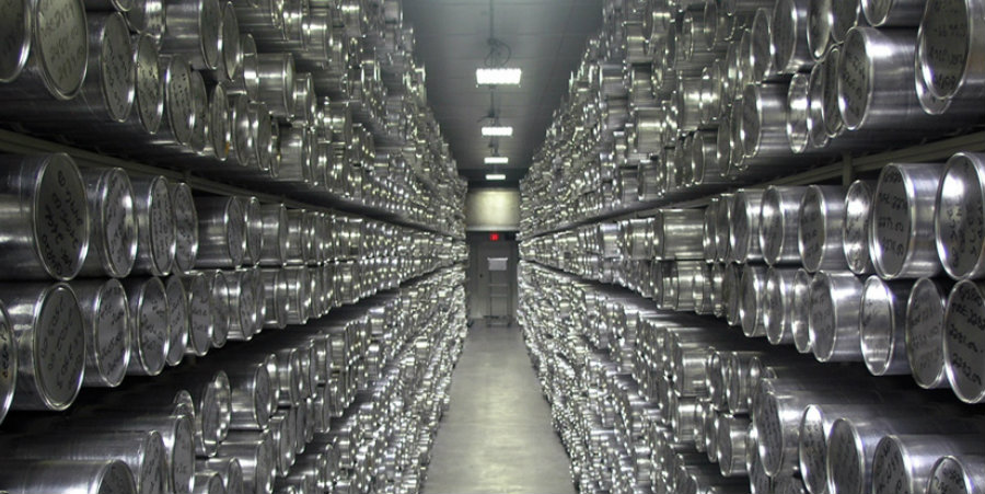 A shot from inside the National Ice Core Laboratory where thousands of ice samples await for scientists to research and analyze. Image Credit: Ice Cores
