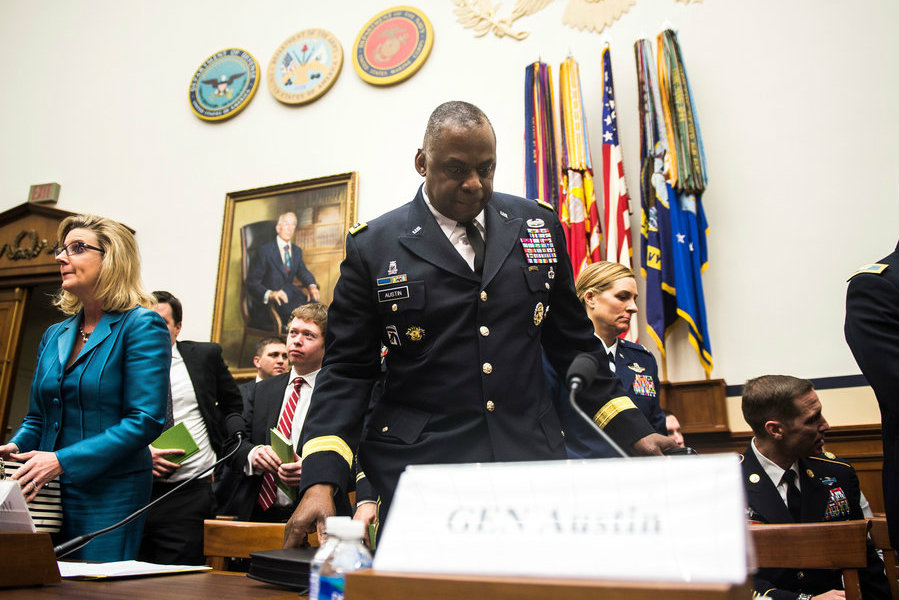 A photo of Lloyd J. Austin III, commander of Centcom, on Capitol Hill on March 3. Image Credit: Gabriella Demczuk/ NY Times