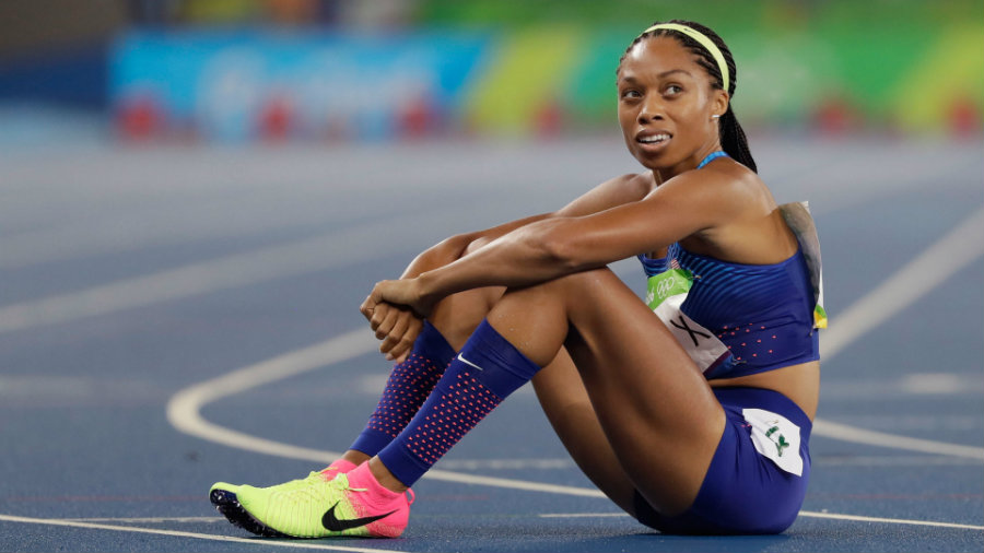 Allyson Felix had been impeded upon by a Brazilian runner during a handoff to English Gardner, making it impossible for her to  hold the baton and it fell to the ground. After a protest, the Americans will re-run the track Thursday evening and maybe qualify for the final of the 4x400 meters relay. Photo credit: AP / NBC Olympics