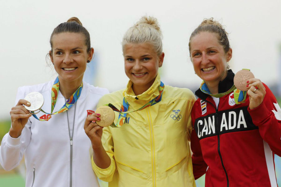Jenny Rissveds, from Sweden, won Saturday gold medal in the Olympic women's mountain bike. Photo credit: Olympic.ca