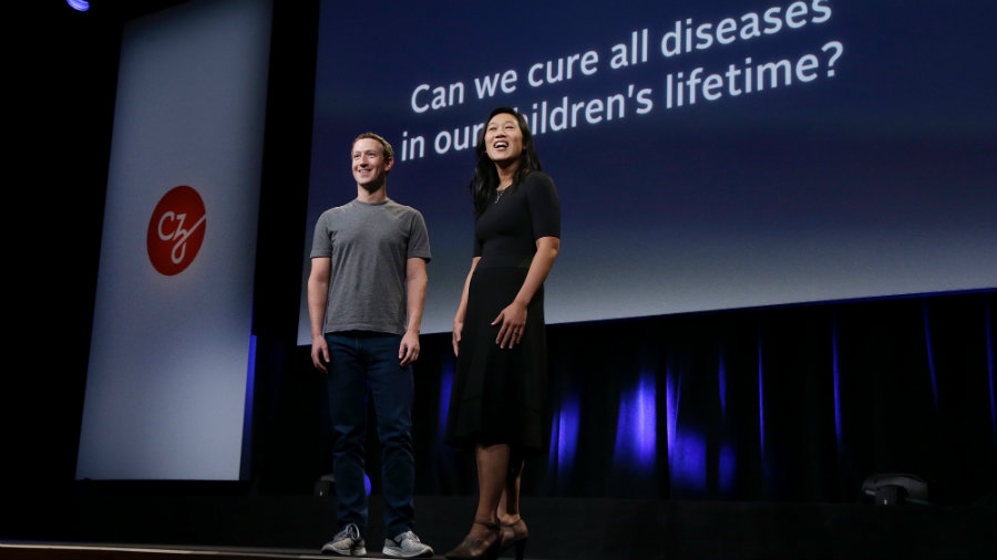 Zuckerberg and Chan introduced the new president of Chan-Zuckerberg Science, Dr. Cori Bargmann and made public they will give her $3 billion to fund efforts to cure all disease by 2100. Photo credit: AP Photo / Jeff Chiu / Quartz