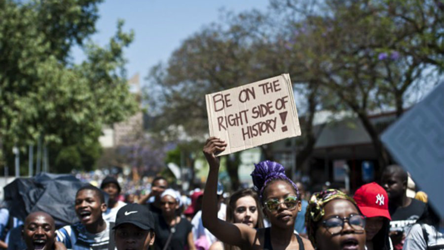 Students have been demonstrating against the proposed 8 percent fee increase after the government had assured there would be no fee increment. Photo credit: Mail & Guardian
