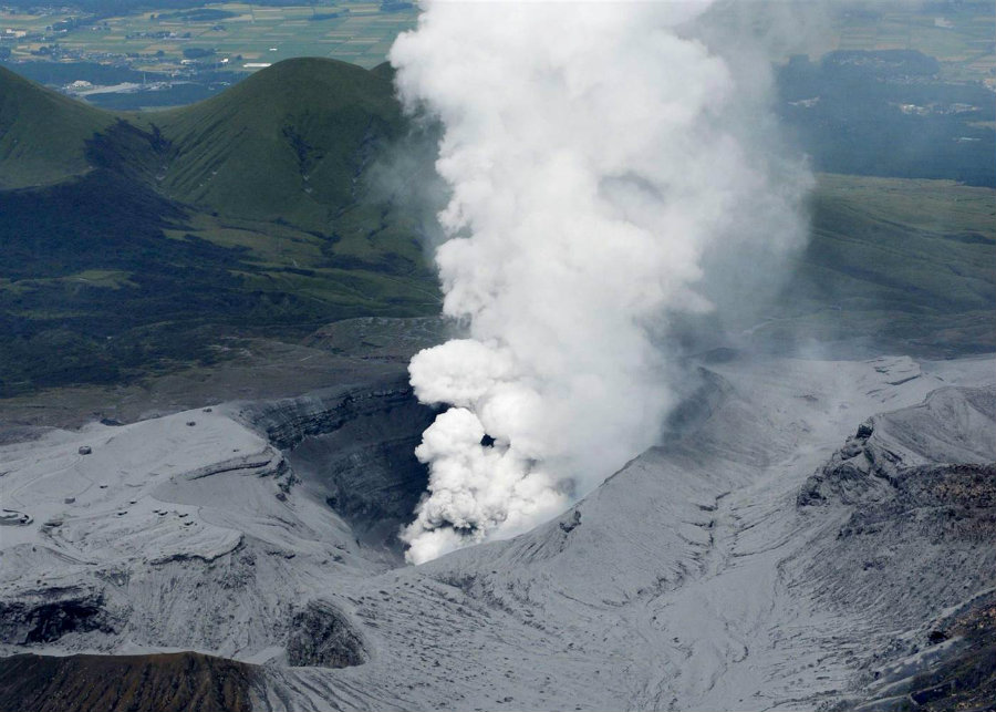 The eruption of Moun Aso accounted as Japan's biggest volcano explosion in years. Photo credit: NBC News