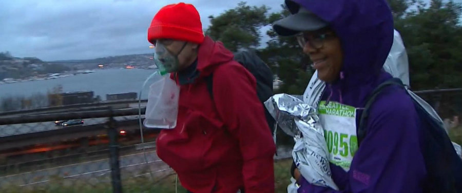 This past Sunday, Evans Wilson walked through the entire 26 and a half mile race with the help of an oxygen tank. Photo credit: ABC News