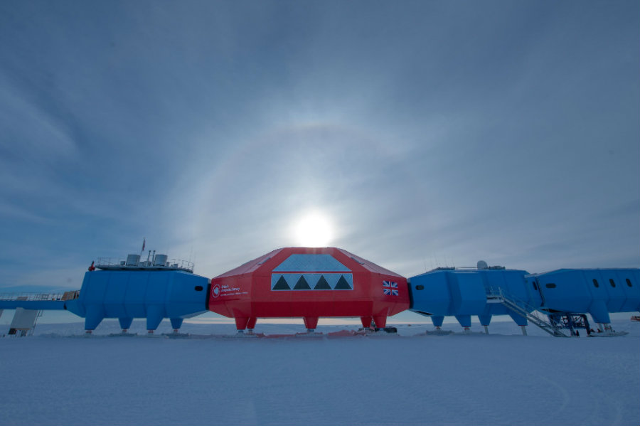The Halley Research Station is temporarily shutting down given concerns on ice cracks. Photo credit: Discover Magazine