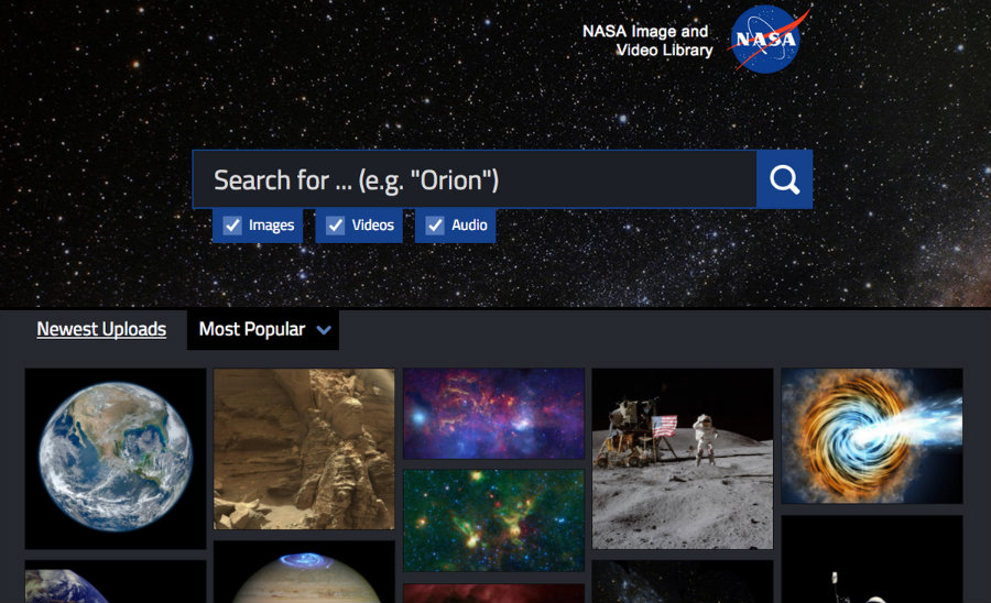 NASA released this Tuesday its new online library. Image credit: NASA / Mashable