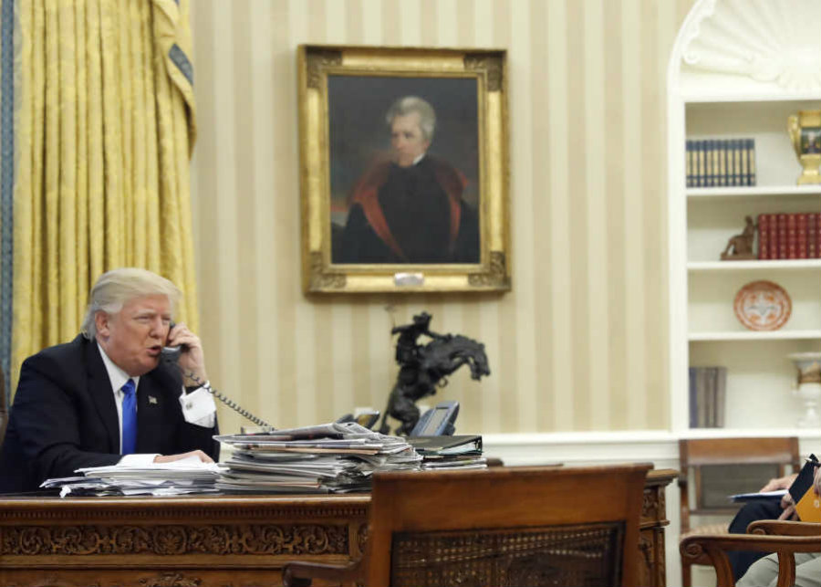President Trump has a portrait of Andrew Jackson hung in the Oval Office. Image credit: Alex Brandon / AP / Philly.com