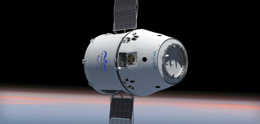One of SpaceX's Dragon capsules arrived at the International Space Station on Monday.  Image credit: SpaceX