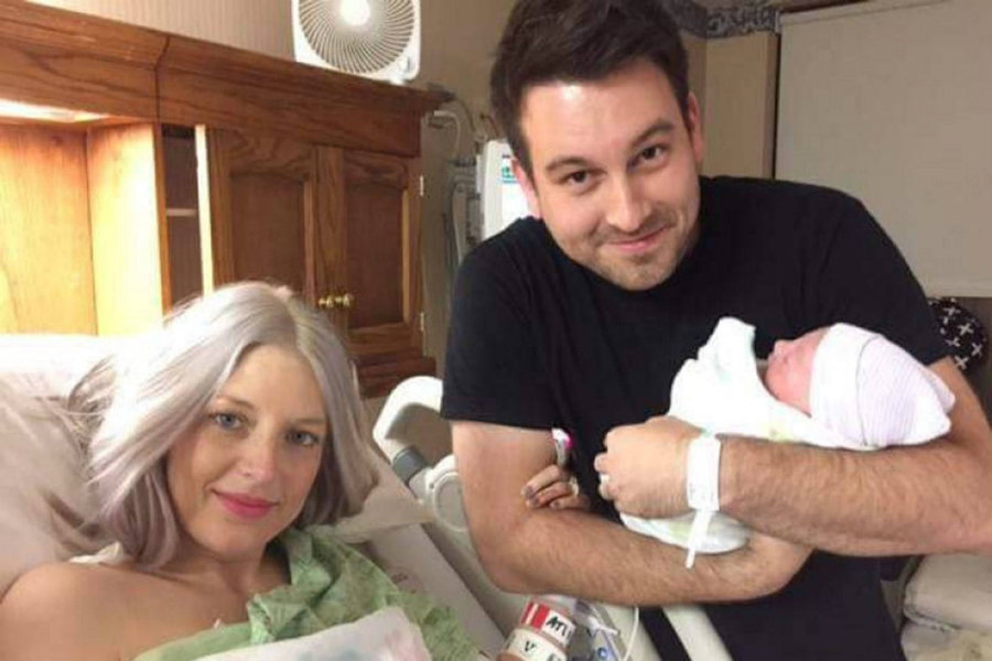 Megan and Nathan Johnson with their daughter Eilee Kate. Image credit: Erie News Now