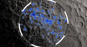 Areas of the moon's south pole with possibly high deposits of frozen water colored blue. Image Credit: NASA