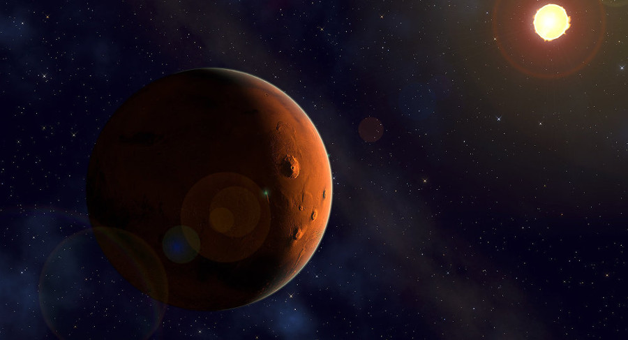 Mars' lack of a magnetosphere makes its regolith highly susceptible to UV rays. Image Credit: Kevin Gill