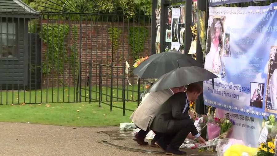 Princes William and Harry paying tribute to Diana. Image Credit: Sky News