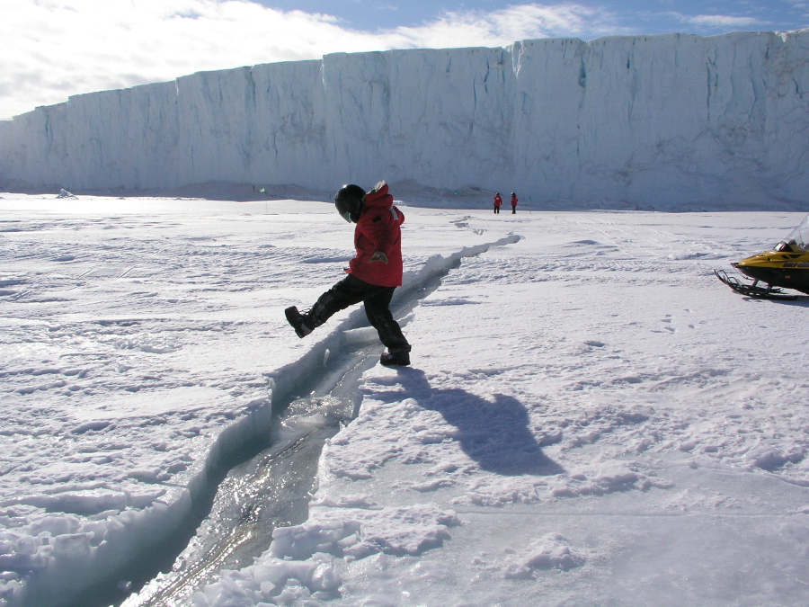 The Larsen C ice shelf crack in Antarctica. It is not clear if global warming is the cause. Image Credit: Jacqueline Ronson / Inverse