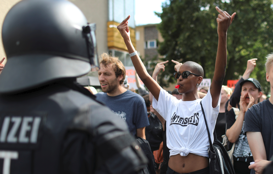 Counter-protesters at Saturday's Neo-Nazi march. Image Credit: Reuters