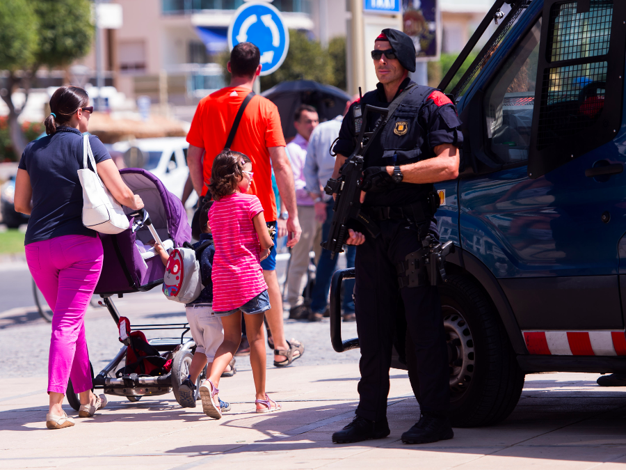 Police officers at Cambrils, where the 5 suspects were killed. Image Credit: Getty Images