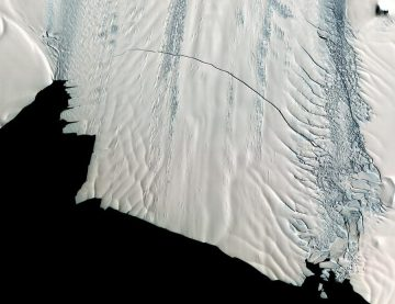 Pine Island Glacier in 2012, after scientists spotted giant crack across it. Image credit: NASA
