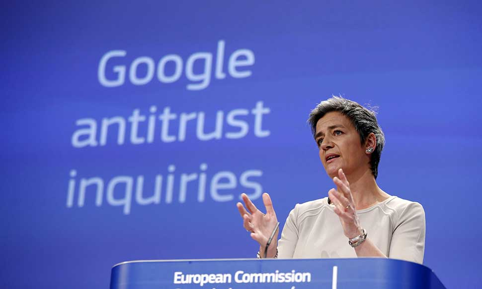 Margrethe Vestager in Brussels over the charges against Google. Photograph: Francois Lenoir/REUTERS