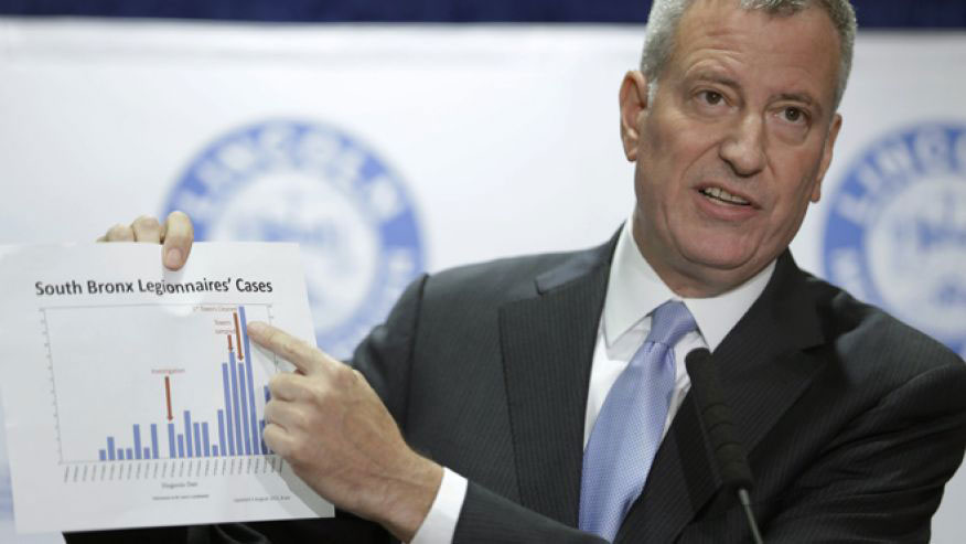 Aug. 4, 2015: New York City Mayor Bill de Blasio holds up a chart documenting the cases of Legionnaires' disease while speaking to reporters. (AP)