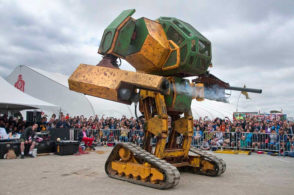 MegaBots at Maker Faire 2015: World Debut of the Mk. II Mech. In January of 2015, MegaBots and Autodesk partnered up to challenge makers from around the world to design the armor paneling of miniature MegaBots to show what the final walking robots might look like, and a reloading left arm cannon for the full-scale MegaBot. Photo: Megabots Inc