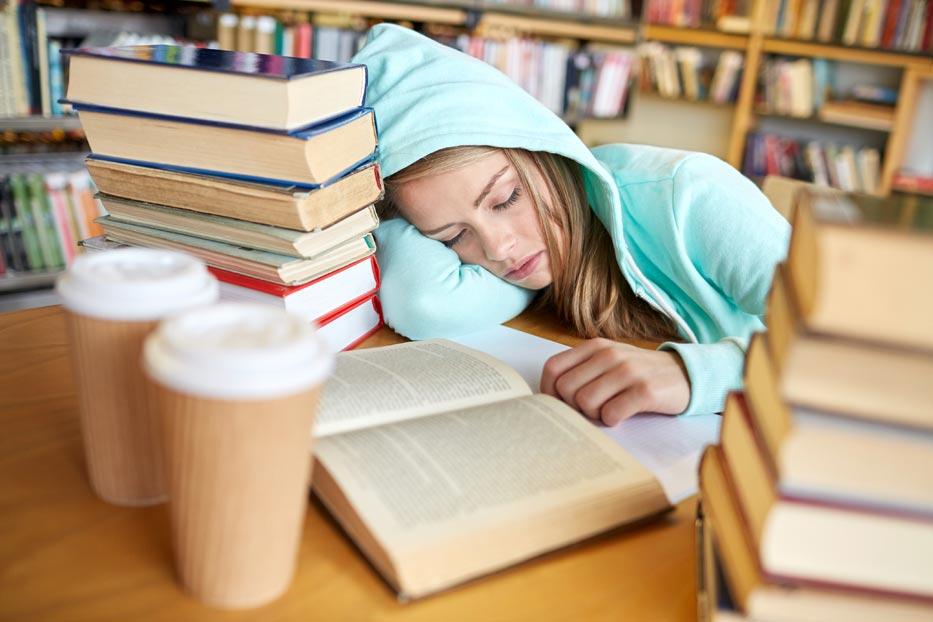 student-sleeping-studing