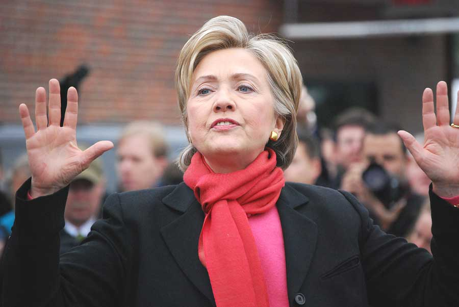 Senator Hillary Clinton campaigning for president during winter 2008.
