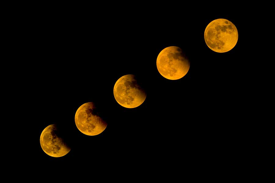 Total Lunar Eclipse 2014 on dark sky.