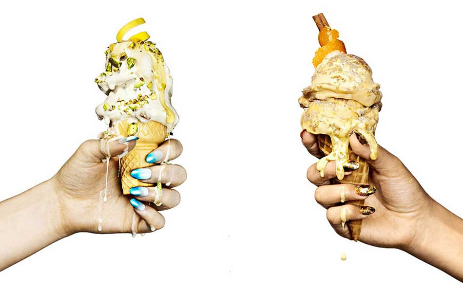 Melting ice -cream cones and brightly manicured nails from Brooklyn-based Jonathon Kambouris photographer.