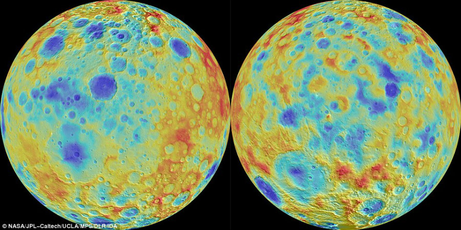 The  disappearing of Ceres' largest craters is still to be define as astronomers and scientists try to understand what could make that happen. Image Credit: Daily Mail