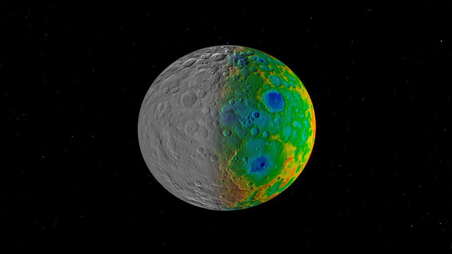 It came as a surprise for scientists that after 4.5 billion years, there are only small impact craters on Ceres' surface, while larger ones have disappeared. Image Credit: NASA