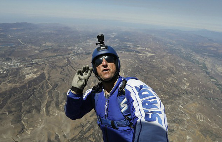 Experienced skydiver Aikins will attempt to revolutionize the skydiving industry by becoming the first man to perform a safe landing without a parachute. Image Credit: Daily Mail