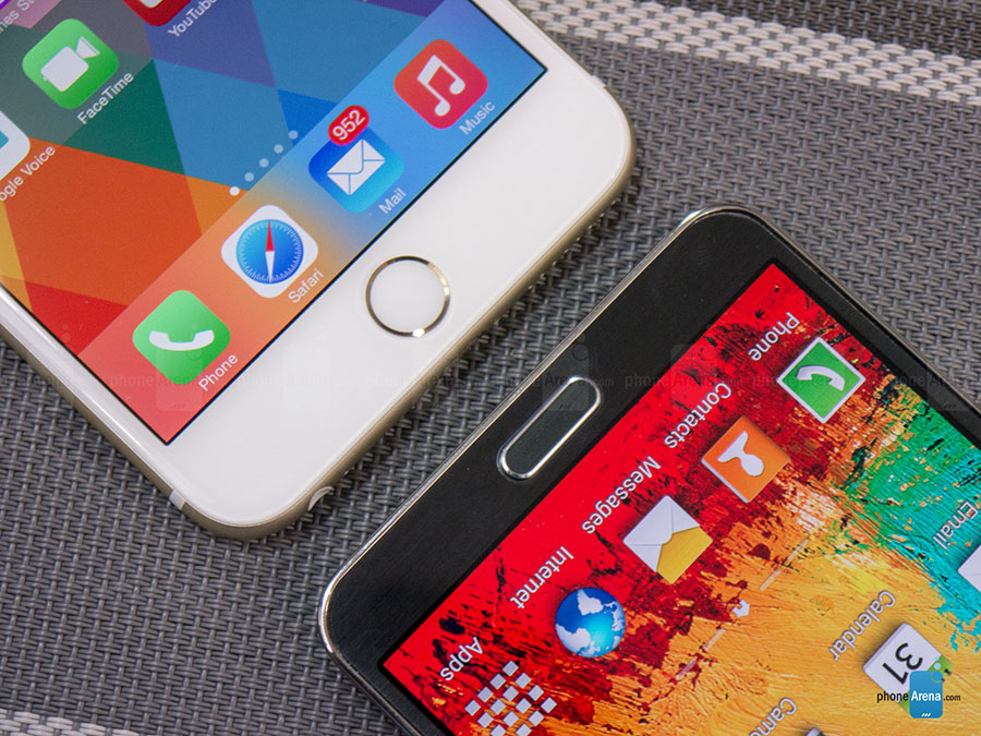 iPhone and Galaxy Note. Credit: Phone Arena