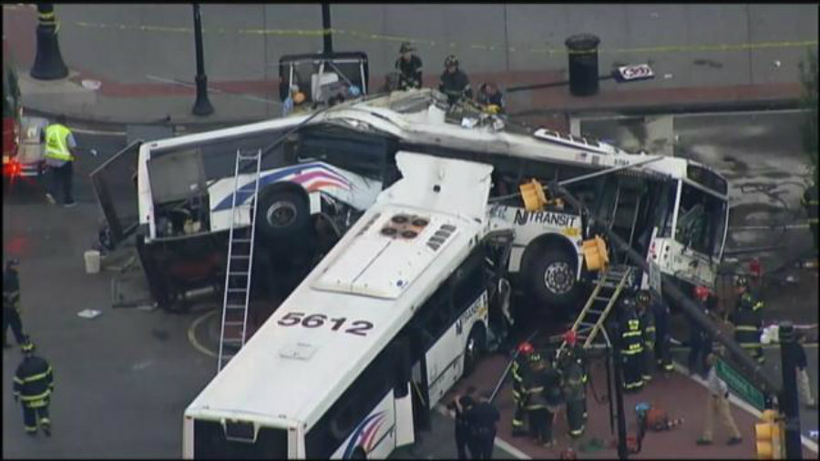 "A witness of the bus crash said there were ""bodies laying everywhere"". Firefighters were helping passengers to exit the bus, while medical officials treated those injured. Image Credit: Scoopnest"