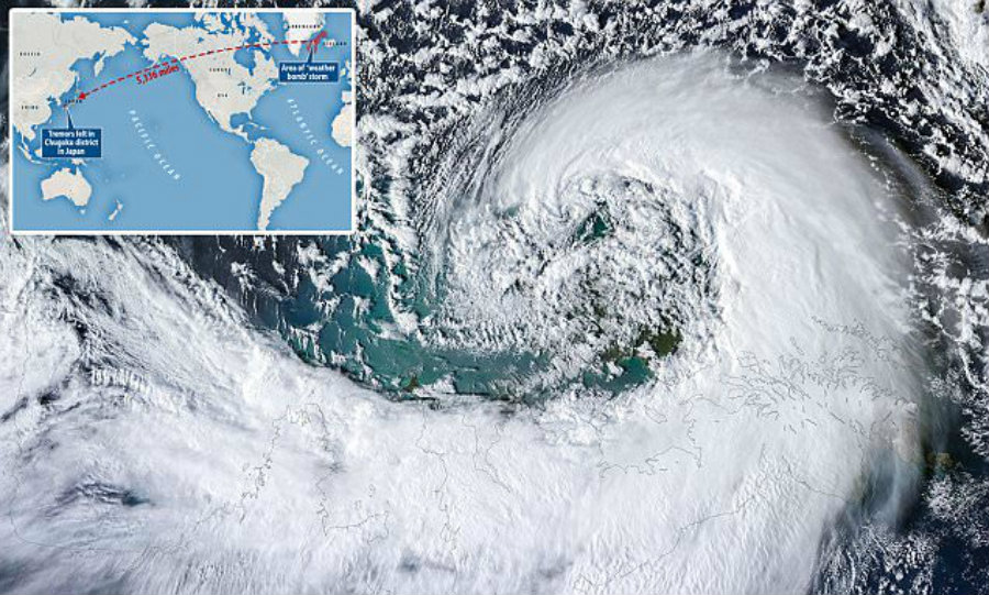 In this case, the weather bomb was so harsh it even made ocean waves crash at intense levels from their core, pounding the ocean floor between the countries and creating extreme base movement. Image Credit: Live Science